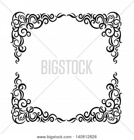 Vintage baroque frame scroll ornament engraving border floral retro pattern antique style acanthus foliage swirl decorative design element filigree calligraphy wedding - vectorTraditional golden decor