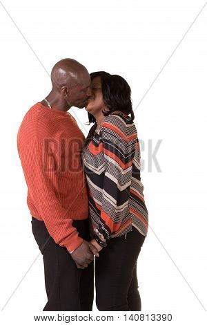 Middle aged couple interacting isolated on white