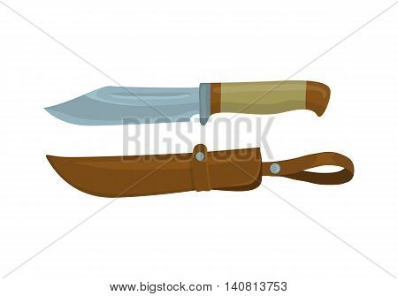 Military knife with leather sheath on white background. Knife and scabbard for hunter. Cartoon vector illustration
