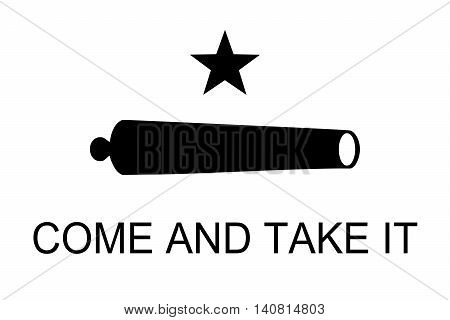 Historic Come and take it flag with Cannon and black star