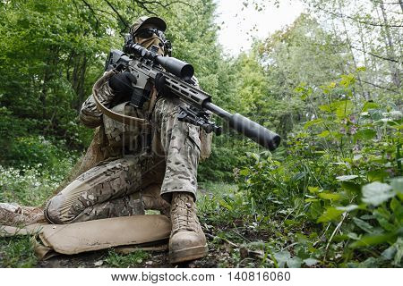 Green Berets US Army Special Forces Group sniper in action poster