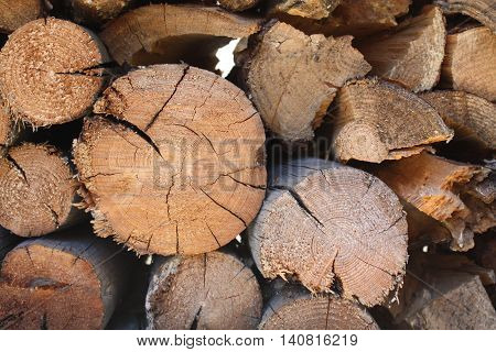 Naturally chaotic aged stacked wood or log