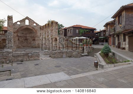 Nessebar, Bulgaria, Juny 20, 2016: The Ruins Of Ancient Buildings Nessebar Old Town.