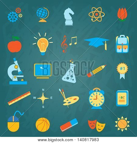 Back to School symbols, signs & stationery supplies flat icon set. School, after-school kids' activities, technology education concept. Use for youth targeted product decoration.