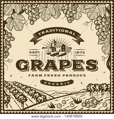 Vintage brown grapes label. Editable vector illustration in retro woodcut style with clipping mask.