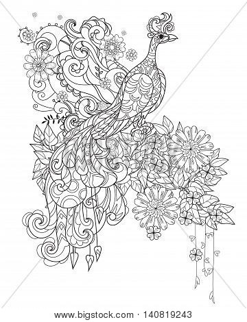 Zen art stylized peacock in flowers. Hand drawn doodle boho vector illustration. Sketch for tattoo or anti stress adult coloring book. Bird collection.