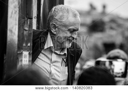 LIVERPOOL, United Kingdom - August 1, 2016: Jeremy Corbyn Speaks at a rally in Liverpool