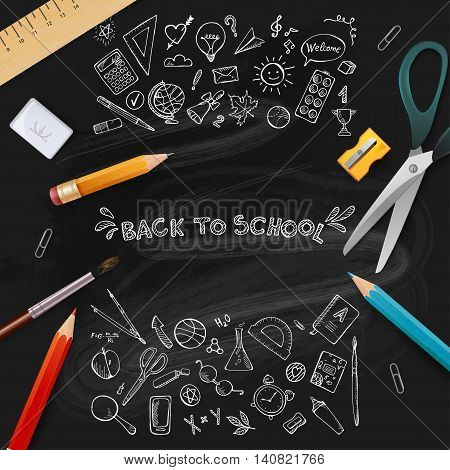 Background On Chalkboard With School Icon Elements.