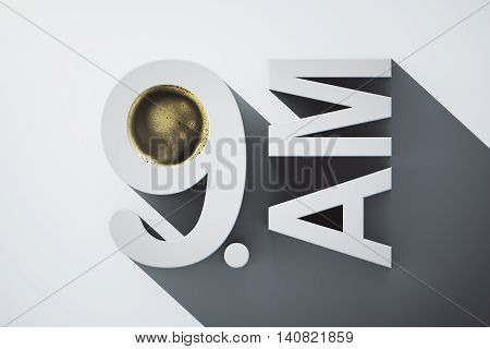 Early morning concept with abstract voluminous 9 AM text and coffee on light background. 3D Rendering