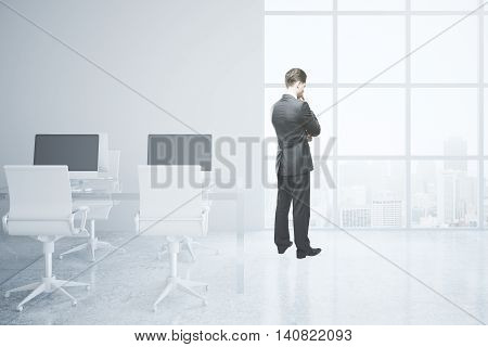 Thoughtful businessman in bright office interior with city view. 3D Rendering