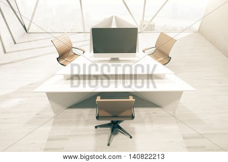 Office interior with abstract triangular table three swivel-chairs blank computer monitor and city view with daylight. Mock up 3D Rendering