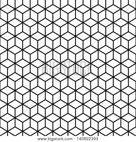 Cube Black and white Seamless Pattern. Geometryc design background