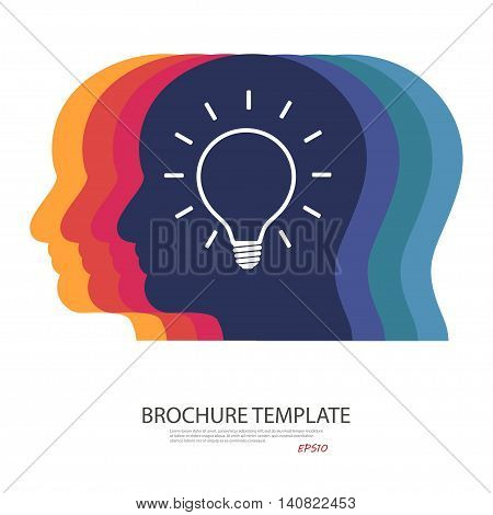 lamp in sIlhouette of a head. vector illustration