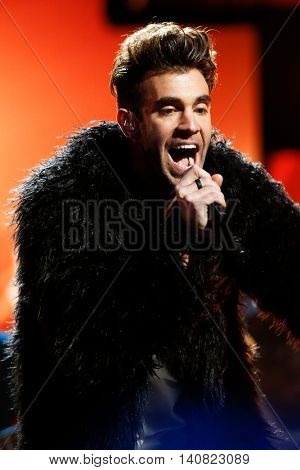 NEW  YORK-NOV 13: Zac Barnett of American Authors performs on stage during VH1's 2nd Annual 'You Oughta Know Live In Concert' 2014 at Hammerstein Ballroom on November 13, 2014 in New York City.