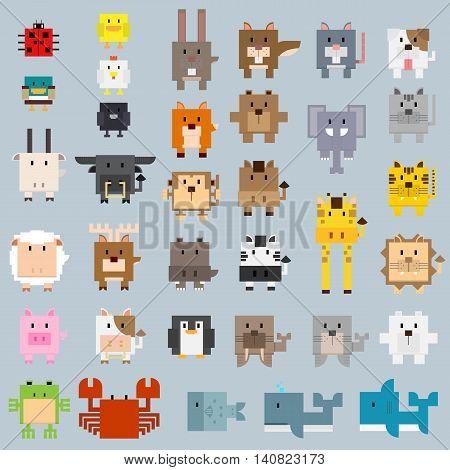 many types of animal in basic rectangle shape cartoon.