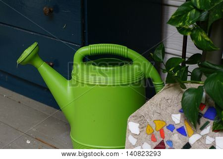 Green plastic watering can with plant and mosaic stepping stone