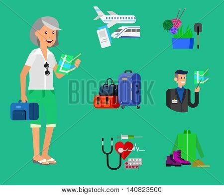 vector detailed character senior, age woman and icons. Pension hobbies and interests leisure of pensioner