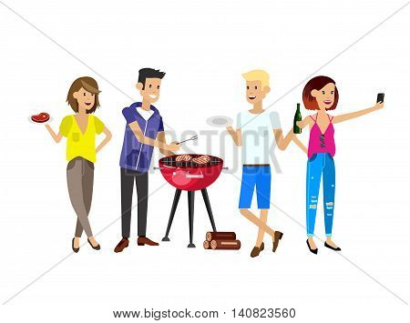 Vector character people on picnic or Bbq party. Chef men cooking steaks on grill.