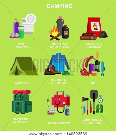 Camping, Hiking and barbecue object and picnic icons, flat illustration