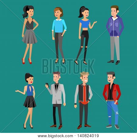 Creative team people. Teamwork, art director and designer, programmer and boss leader, group portrait. Design studio character