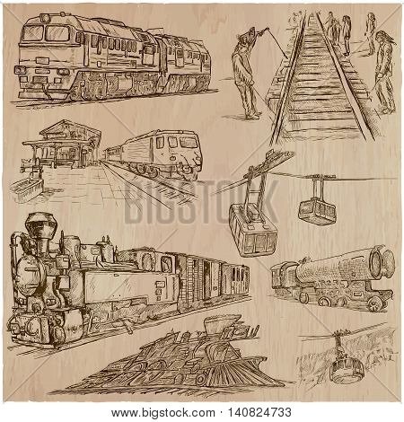 Transport set. Transportation by TRAIN and Cable car Cable way. Collection of an hand drawn vector illustrations. Each drawing comprise a few layers of editable outlines. Freehand sketching pack.