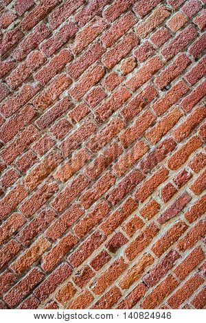 Red Brick Wall On Angle
