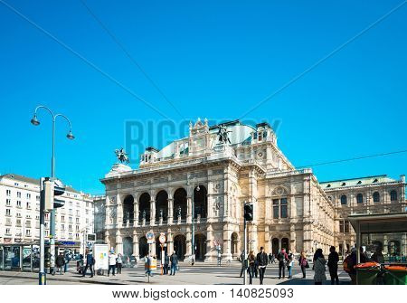 VIENNA, AUSTRIA-April 19 : Tourists on foot Graben Street in Vienna on April 19, 2016.Vienna is Austria's primary city, with a population of about 1.757 million.
