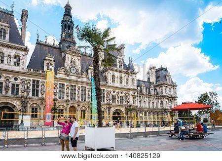 PARIS, FRANCE - July 31 : Tourists on foot Graben Street view around Paris city. Paris is the capital and most populous city of France. July 31, 2016, Paris, France.