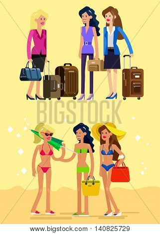 Vector detailed character girlfriends go on vacation with bag and suitcase. Hot beautiful girl in bikini on a beach. Cool flat illustration