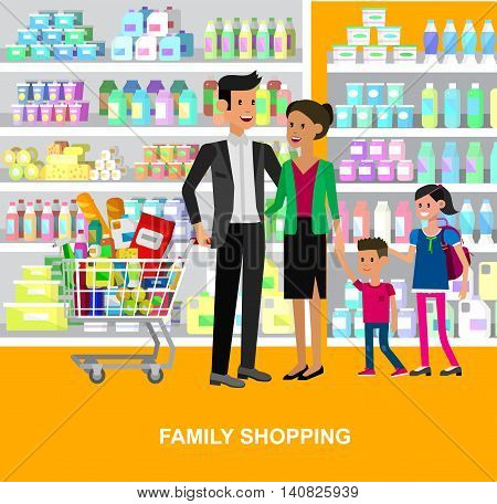 Concept illustration for Shop. Vector character family people in supermarket. Healthy eating and eco food