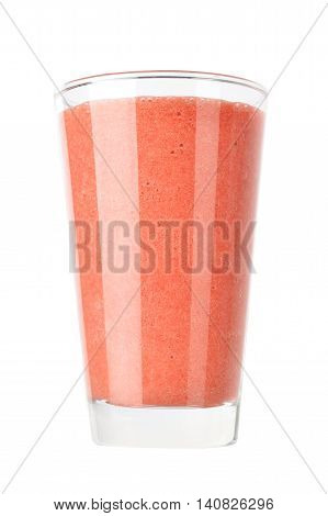 Fresh fruit and berry smoothies in glass isolated on white