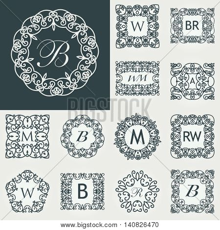 Big Set of Luxury monogram template. Flourishes calligraphic elegant ornament logos. Business sign or identity. Vector illustration