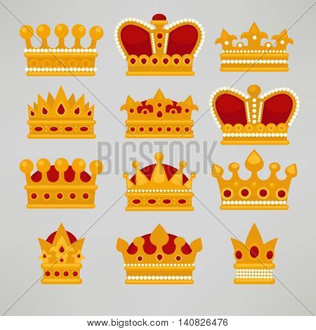 Crown icons flat royal set. Vector Illustration.