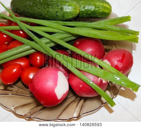 Cucumbers, tomatoes, radish and greens for salad