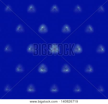 Computer generated fractal snowflakes on blue background
