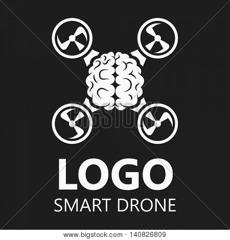 Brain icon logo badge. Vector Illustration.