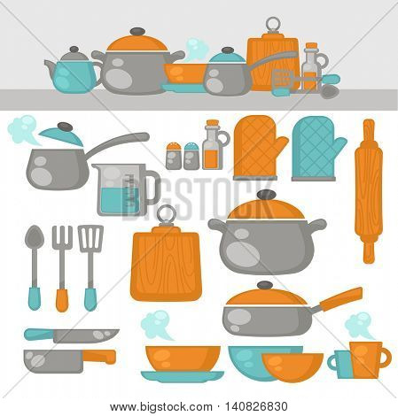 Cooking tools Dishes set. Kitchen equipment, products on the shelves. Vector Illustration.