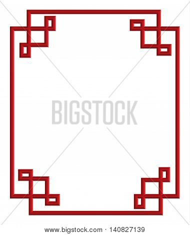 red 3d pattern of china frame vector illustration for decoration