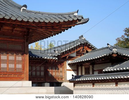 Traditional Korean style architecture at Gyeongbokgung Palace in Seoul South Korea.