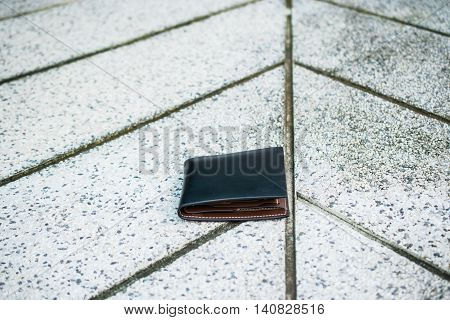 Lost wallet on the street, lost leather purce