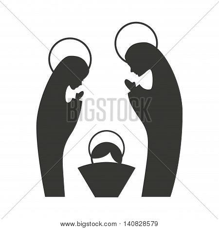 silhouette of the Christmas manger figure vector illustration design