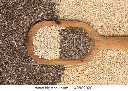 Superfood Chia and Quinoa seeds into a spoon