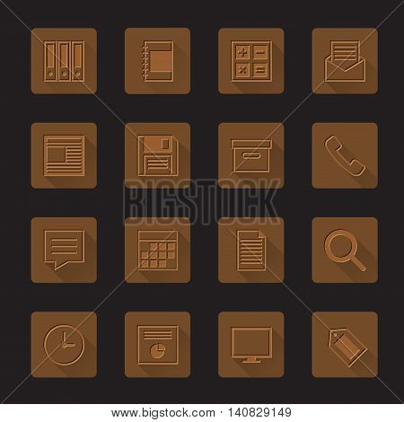 Set of business office work icons design brown leather texture vector illustration