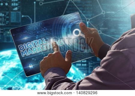 Internet. Business. Technology Concept.businessman Presses A Button Digital Marketing On The Virtual