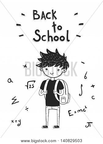 Hand drawn back to school card with cute kid