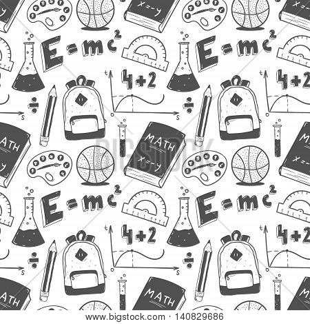 Hand drawn seampess pattern. Back to school doodle set.