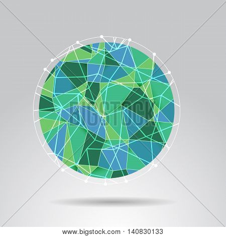 Green polygon ball design background stock vector