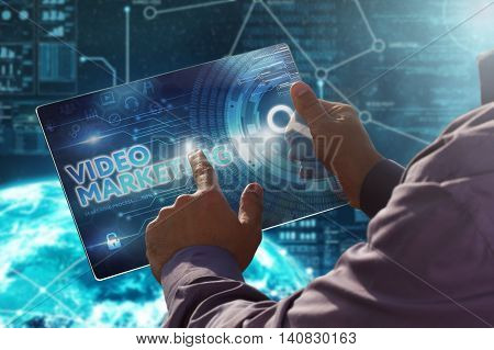 Internet. Business. Technology Concept.businessman Presses A Button Video Marketing On The Virtual S