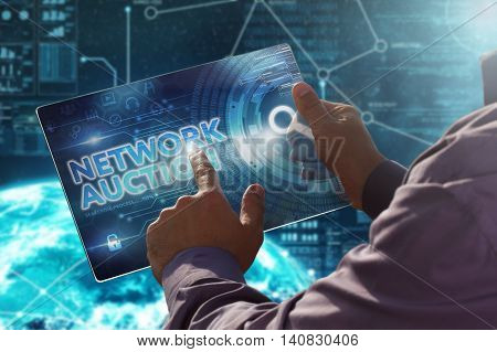 Internet. Business. Technology Concept.businessman Presses A Button Network Auction On The Virtual S