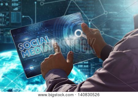 Internet. Business. Technology Concept.businessman Presses A Button Social Media On The Virtual Scre